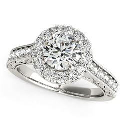 14K White Gold Round Diamond Engagement Ring with Stylish Shank (1 5/8 ct. tw.)