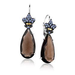 18K Yellow Gold & Sterling Silver Smokey Quartz and Tanzanite Teardrop Earrings