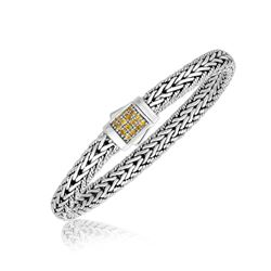 Sterling Silver Braided Motif Men's Bracelet with Yellow Tone Sapphire Accents