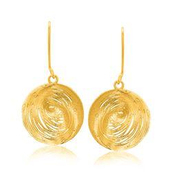 14K Yellow Gold Fancy Lace Like Clam Shell Dangling Earrings