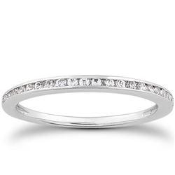 14K White Gold Slim Profile Diamond Channel Set Wedding Ring Band