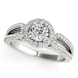 14K White Gold Round Diamond Engagement Ring with Teardrop Split Shank (7/8 ct. tw.)