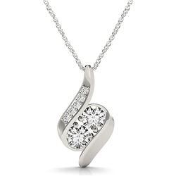 14K White Gold Two Stone Curved Style Diamond Pendant (3/4 ct. tw.)