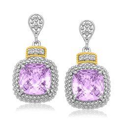 18K Yellow Gold & Sterling Silver Cushion Amethyst & Diamond Earrings (.05ct tw)
