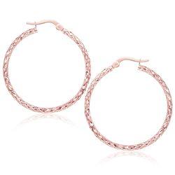 Large Textured Hoop Earrings in 10K Rose Gold