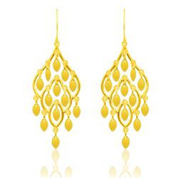 14K Yellow Gold Dangling Earrings with Marquise Sequins