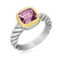 18K Yellow gold and Sterling Silver Cable Shank Ring with a Cushion Amethyst