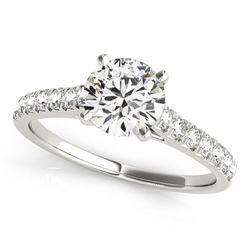 14K White Gold Round Prong Set Single Row Band Diamond Engagement Ring (1 1/3 ct. tw.)