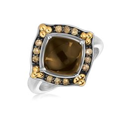 18K Yellow Gold and Sterling Silver Smokey Quartz and Coffee Diamonds Ring