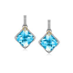 18K Yellow Gold and Sterling Silver Cushion Blue Topaz and Diamond Drop Earrings