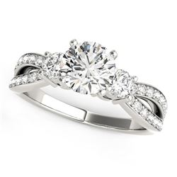 14K White Gold Split Shank Round Diamond Engagement Ring (1 5/8 ct. tw.) Size: 9
