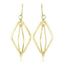 14K Yellow Gold Flat Open Diamond Interlaced Style Drop Earrings