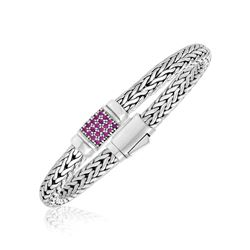 Sterling Silver Woven Motif Bracelet with Pink Sapphire Accents