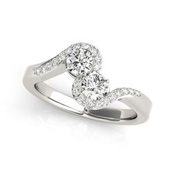 14K White Gold Curved Band Style Two Diamond Ring (5/8 ct. tw.)
