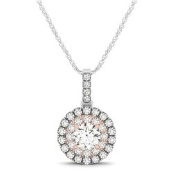 Round Shape Halo Diamond Pendant in 14K White and Rose Gold (1/2 ct. tw.)