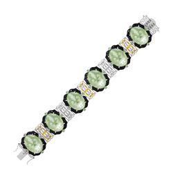 18K Yellow Gold & Sterling Silver Amethyst  Tsavorite  & Diamond Accented Bracelet