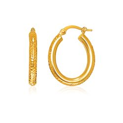 14K Yellow Gold Diamond Cut Textured Oval Hoop Earrings.