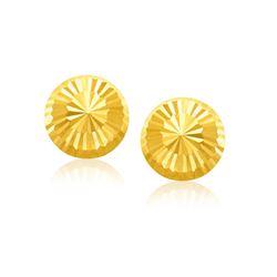 14K Yellow Gold Diamond Cut Flat Design Stud Earrings