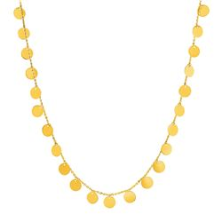 Choker Necklace with Polished Discs in 14K Yellow Gold