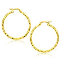 14K Yellow Gold Tube Textured Round Hoop Earrings