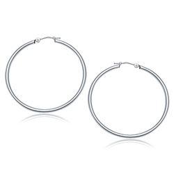 10K White Gold Polished Hoop Earrings (40 mm)