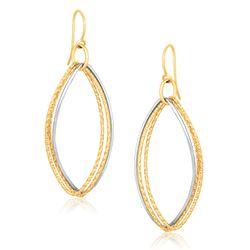 14K Two Tone Gold Textured Triple Oval Shape Drop Earrings