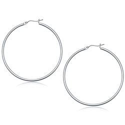 10K White Gold Polished Hoop Earrings (50 mm)