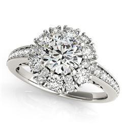 14K White Gold Antique Style Halo Round Diamond Engagement Ring (2 ct. tw.)