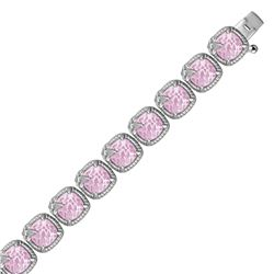 Sterling Silver Square Pink Amethyst and White Sapphire Edged Accented Bracelet