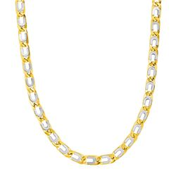 Mens Oval Link Necklace with Details in 14K Two Tone Gold