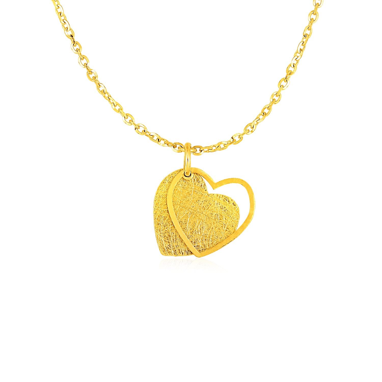 c0ea52f5e03d9 Two Layer Heart Pendant in 14K Yellow Gold