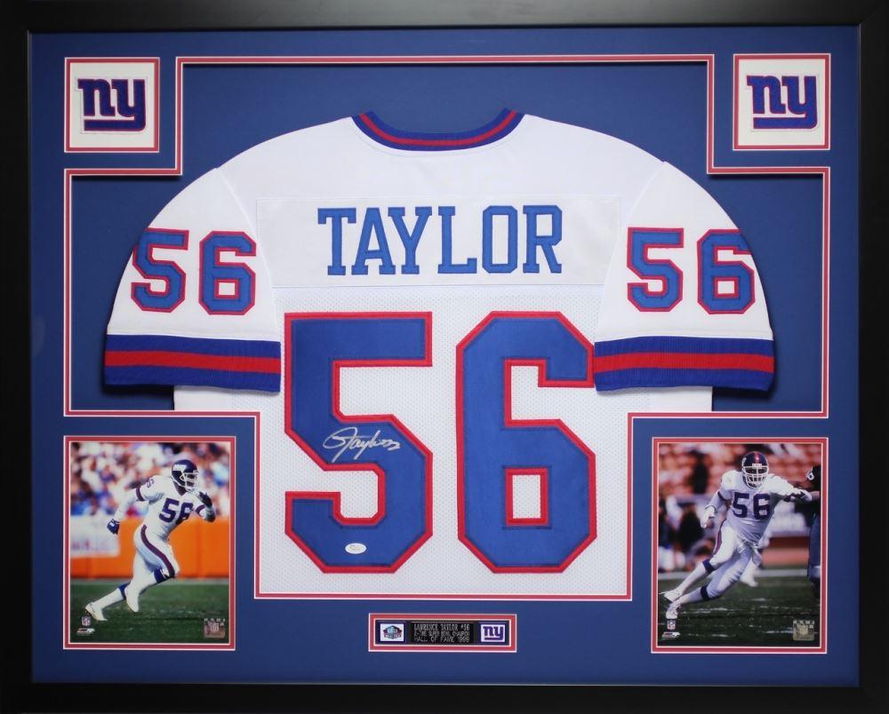 4b7d857a2cf Image 1   Lawrence Taylor Signed Giants 35x43 Custom Framed Jersey (JSA COA)