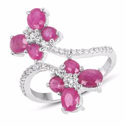 STERLING SILVER RUBY BUTTERFLY RING