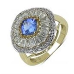 STERLING SILVER TANZANITE AND BAGUETTE RING