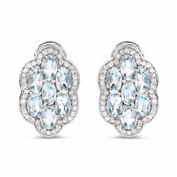 STERLING SILVER AND AQUAMARINE DIAMOND EARRING