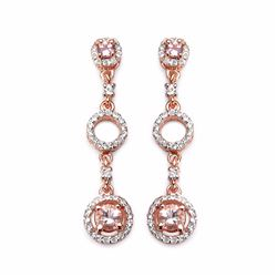 STERLING SILVER MORGANITE AND PINK TOURMALINE DROP EARRINGS