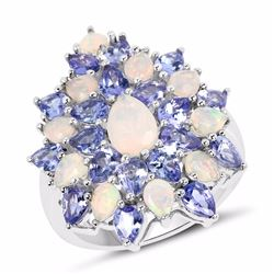 STERLING SILVE ETHIOPIAN OPAL AND TGANZANITE RING