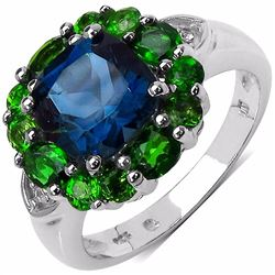STERLING SILVER LONDON BLUE TOPAZ AND CHROME DIOPSIDE RING