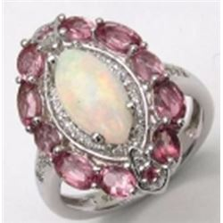 STERLING SILVER ETHIOPIAN OPAL AND PINK TOURMALINE RING
