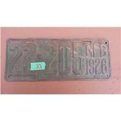 1926 Tin License Plate