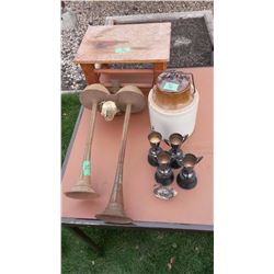Truck Horns, Pickle Crock, 1960's Trophies, Wooden Stool