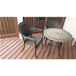 Stone Top Patio Table W/ Wicker Chairs (2)