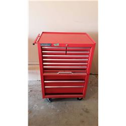International Metal Tool Box On Wheels (No Contents)