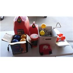 Bocce balls And Misc. Boating Safety Supplies W/ Gas Containers (2)