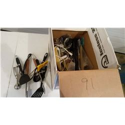Box Of Assorted Kitchen Utensils