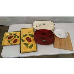 Lot Of Platters And Wooden Cutting Board