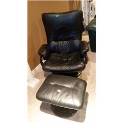 Leather Chair W/ Leather Foot Stool