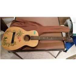 Hand Painted Guitar And Case