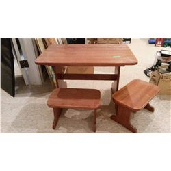 Kids Wooden Table With Wooden Stools (2)