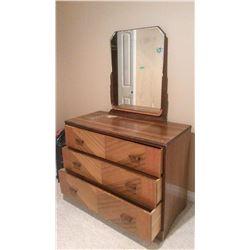 Wooden Dresser, 3 Drawer, W/ Mirror